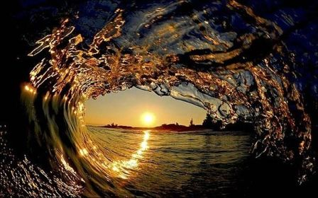 Sunset Inside Wave