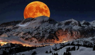 Super Moon rising above Sierra Nevada Sequoia National Park California