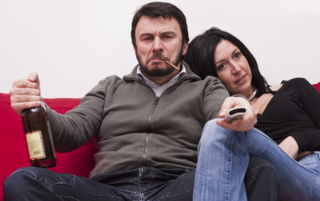 Angry-white-man with bored wife